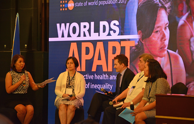 CNN Philippines' Ruth Cabal moderates a panel discussion with Ms. Emmeline Verzosa, Executive Director, Philippine Commission on Women (PCW); UNFPA Country Representative Klaus Beck; Dr. Juan Antonio A. Perez III Executive Director, POPCOM; and Ms. Leah Barbia, Officer in Charge, Gender Equality and Women's Human Rights Center Commission on Human Rights.